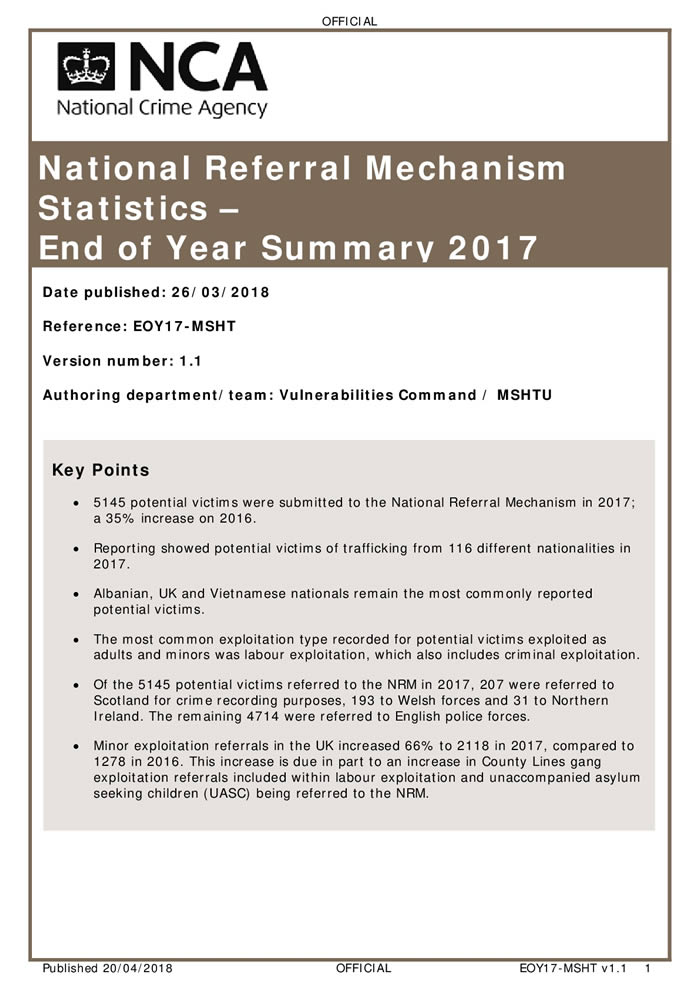 National Referral Mechanism Statistics – End of Year Summary 2017
