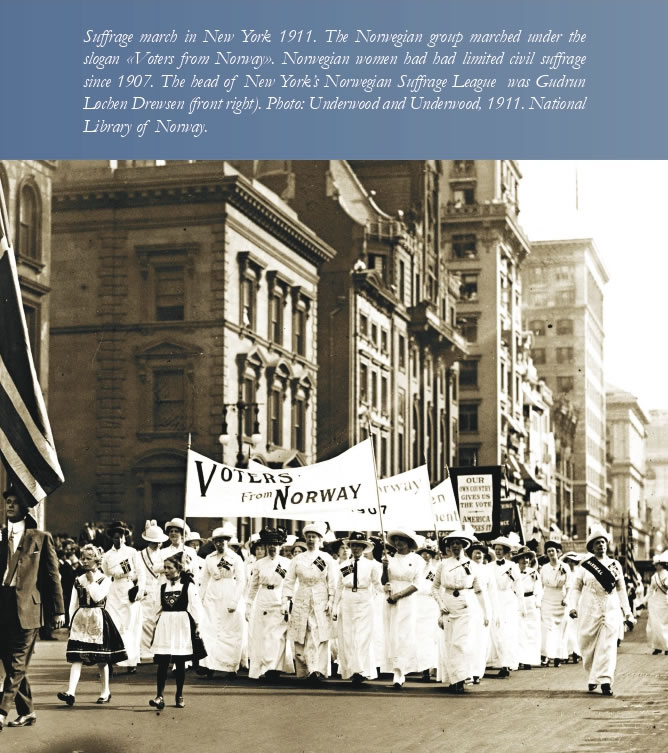 Women's Suffrage Norway - Norwegian suffrage march New York 1911